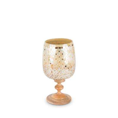 Golden Hombre Hurricane Glass Candle Holder