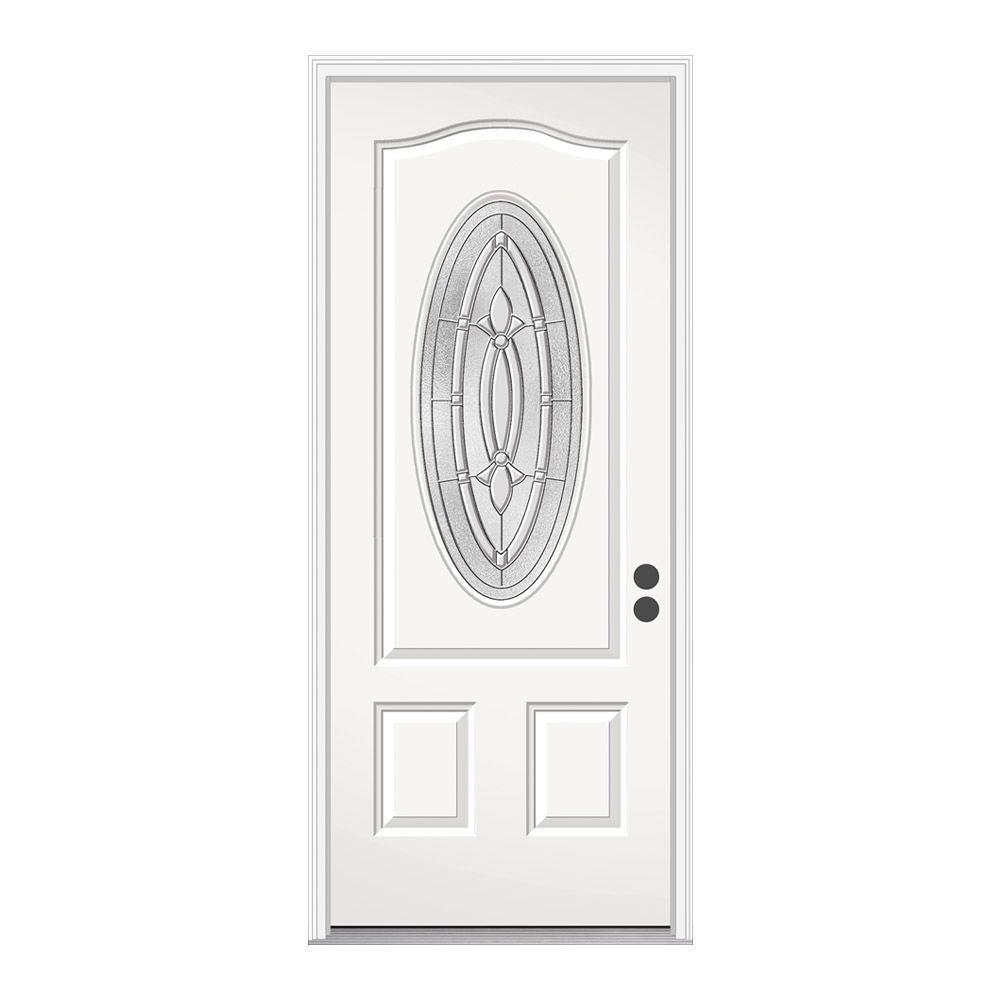 JELD-WEN 36 in. x 80 in. 3/4 Oval Lite Blakely Primed Steel Prehung Left-Hand Inswing Front Door