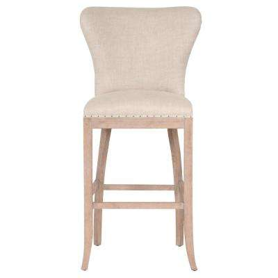Welles 30 in. Bisque French Linen, Stone Wash Oak Bar Stool