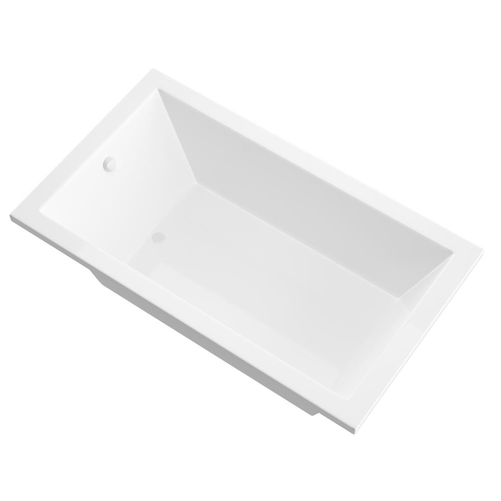 Universal Tubs Sapphire 5 ft. Acrylic Reversible Drain Rectangular Drop-in Non-Whirlpool Bathtub in White