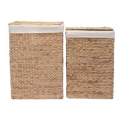 26 in. H Portable Handmade Water Hyacinth Wicker Laundry Hamper with Lid in Natural (2-Pack)