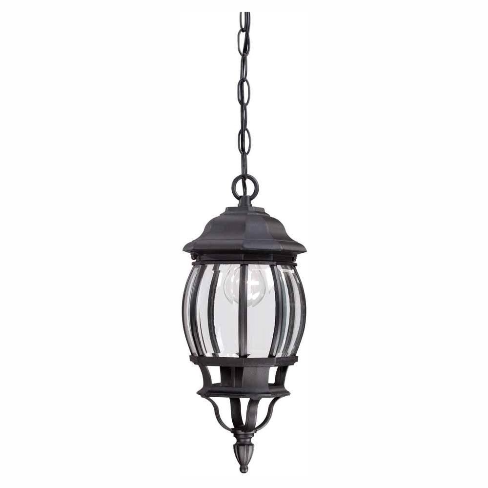 Hampton Bay 1-Light Black Outdoor Hanging Lantern