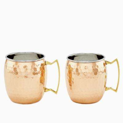 Set of 2, 2PLY Hammered Solid Copper/SS Moscow Mule Mugs