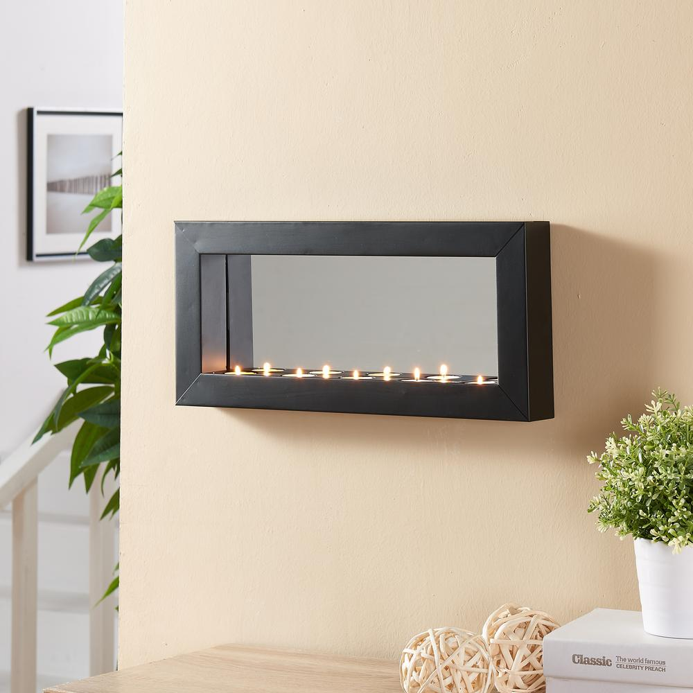 Horizontal Black Metal Frame Tealight Candle Sconce with Mirror