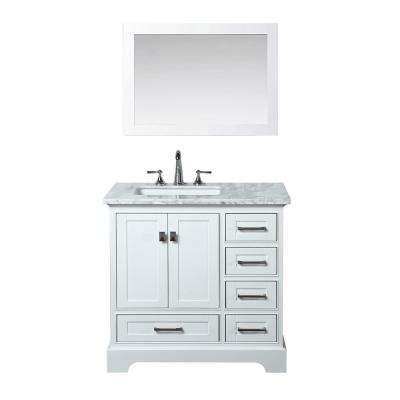 Newport 36 in. W x 22 in. D Vanity in White with Marble Vanity Top in Carrara White and Mirror