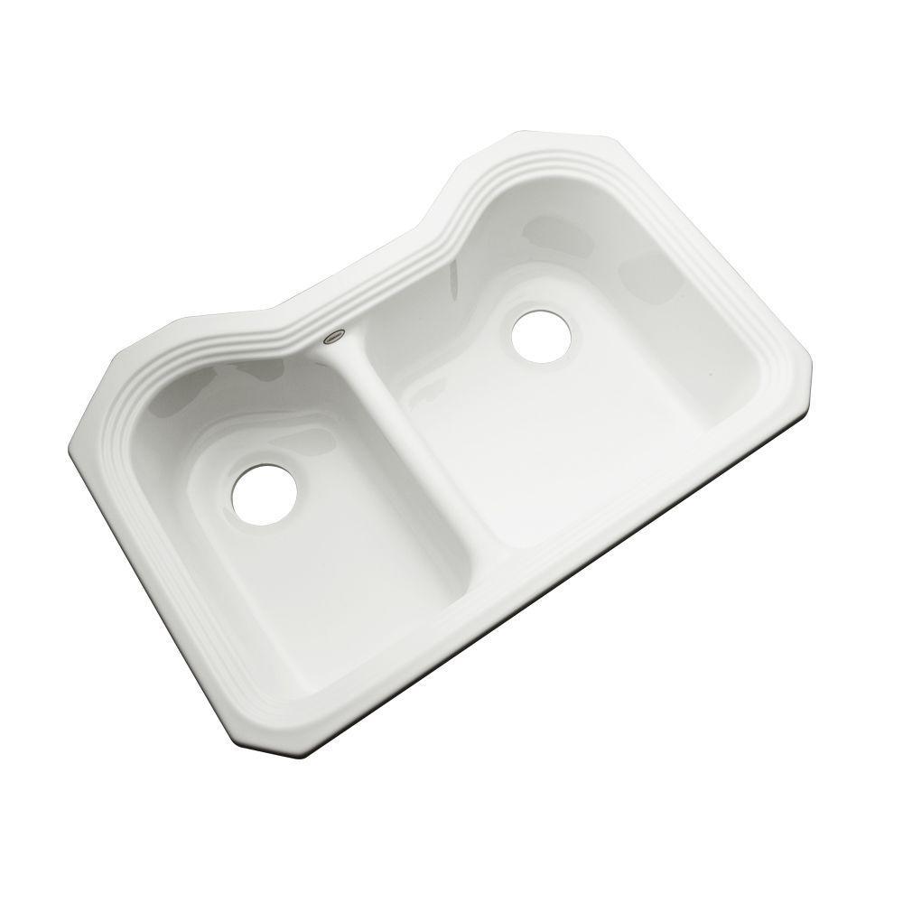 Breckenridge Undermount Acrylic 33 in. Double Bowl Kitchen Sink in White