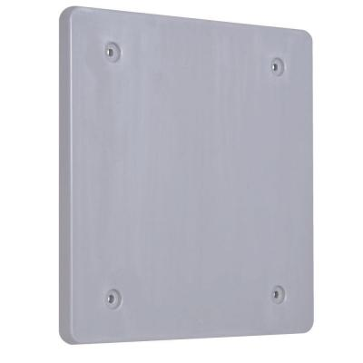 2 Gang Blank Plastic Cover - Gray