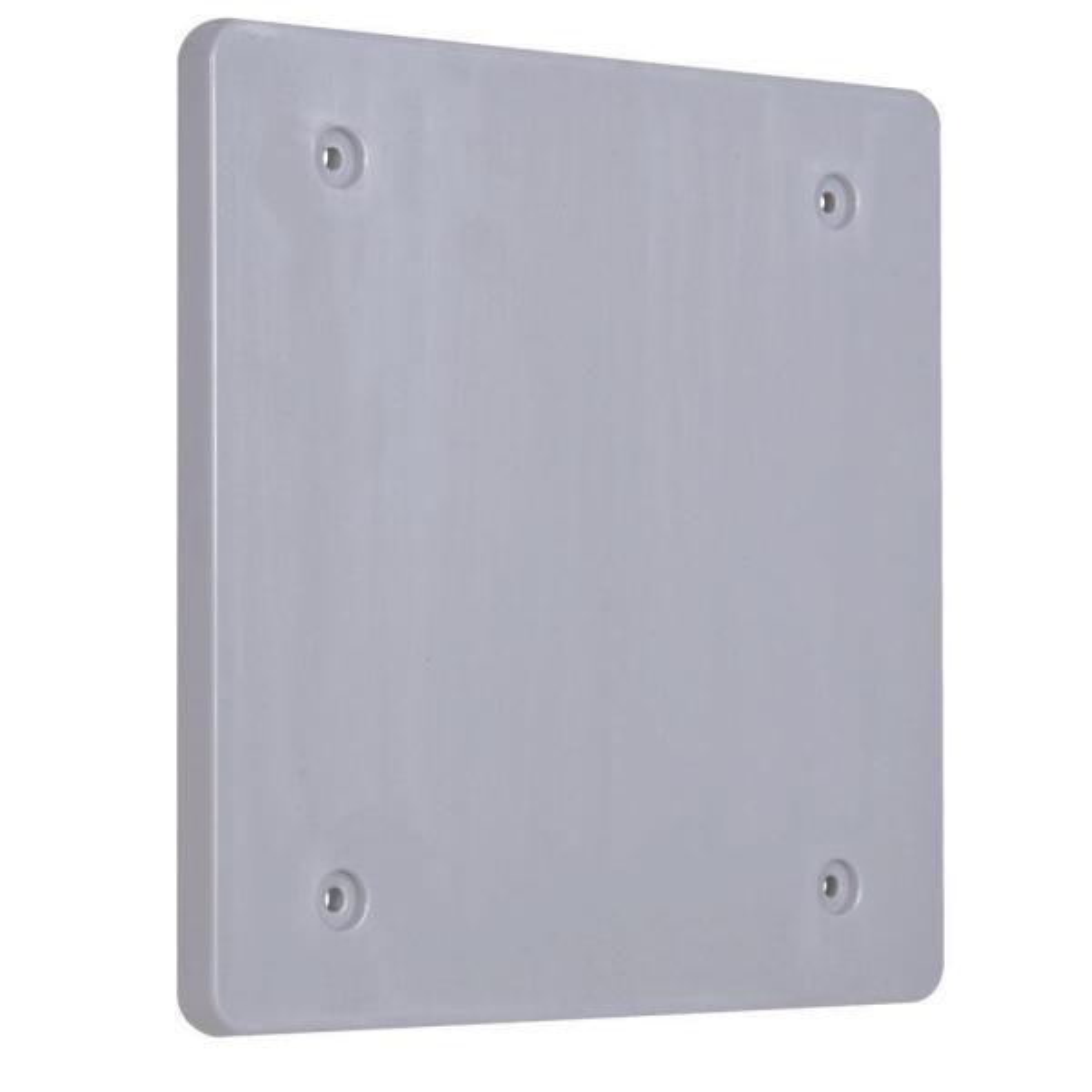 2 Gang Blank Plastic Cover - Gray