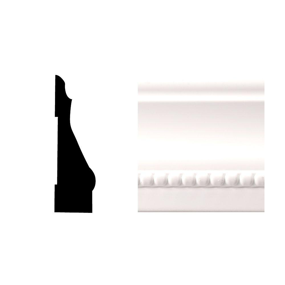 Royal Mouldings Creation Series 6614 9/16 in. x 2-1/4 in. x 84 in. PVC Composite White Colonial Casing Moulding