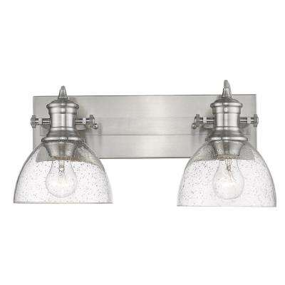 Hines 2-Light Pewter with Seeded Glass Bath Vanity Light