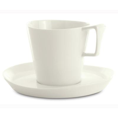 Eclipse 13.44 oz. White Breakfast Cup and Saucer (Set of 2)