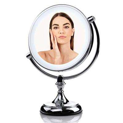 Dimmable Battery or USB Adapter Operated LED Lighted Makeup Mirror with 1x or 5x Magnification