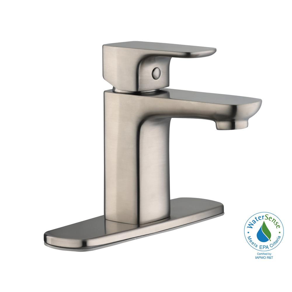 Contemporary Single Hole Single-Handle Low-Arc Bathroom Faucet in Brushed Nickel