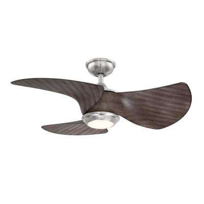 Miraval 36 in. LED Brushed Nickel Ceiling Fan with Light