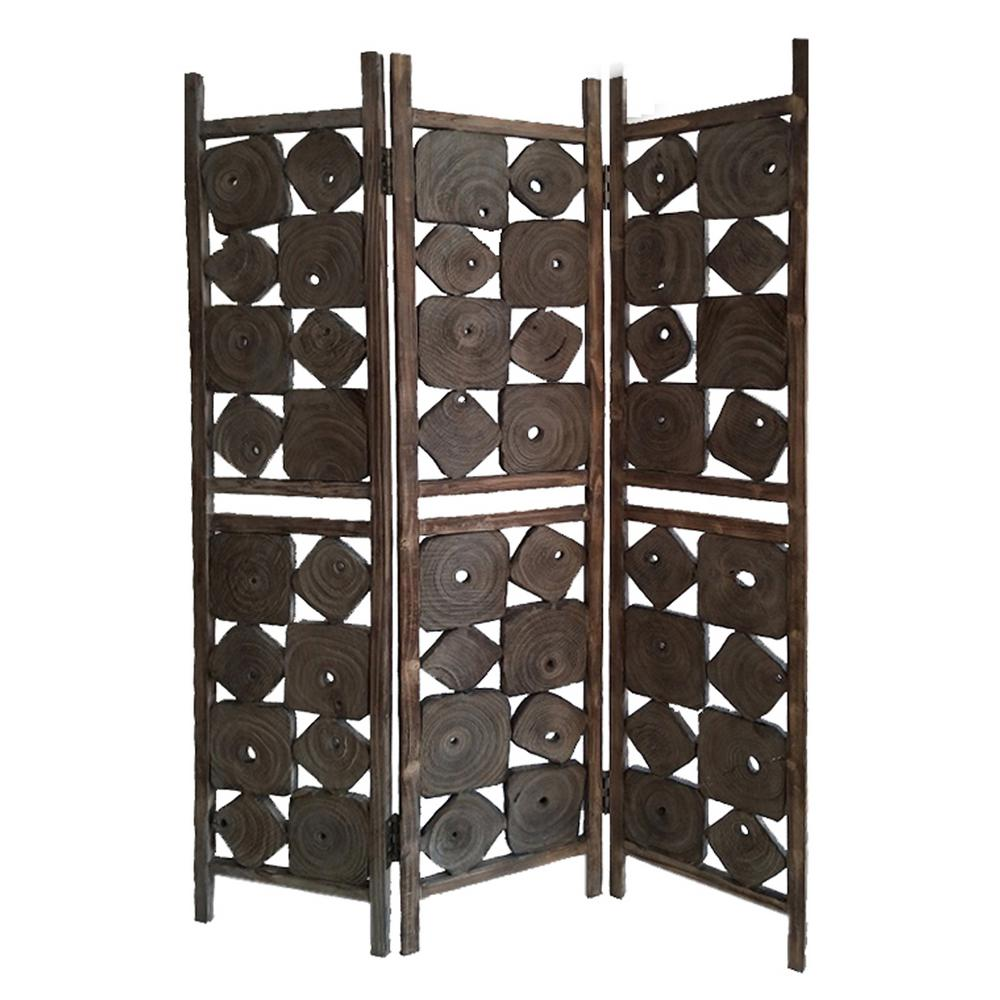 Glenbrook 6 ft. Brown 3-Panel Room Divider
