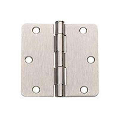 3.5 in. x 3.5 in. Satin Nickel Plain Bearing Steel Hinge with 1/4 in. Radius (Set of 2)