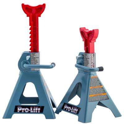 3-Ton Double Locking Pin Jack Stand with Cast Ductile Iron Ratchet Bar Pair
