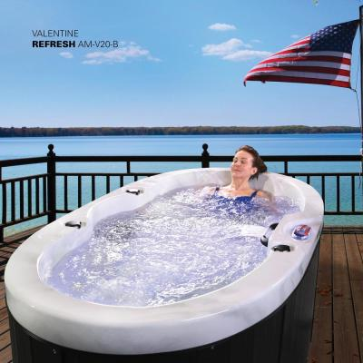 2-Person 20-Jet Valentine Spa with LED Waterfall Handrail