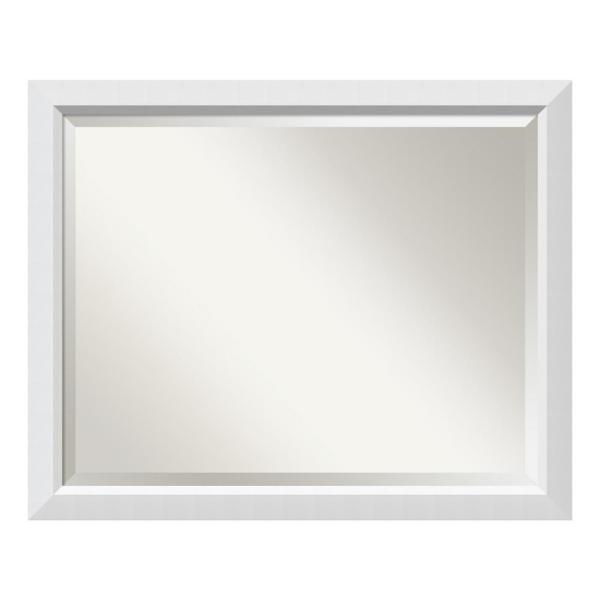 Blanco White Wood 31 in. W x 25 in. H Contemporary Framed Mirror