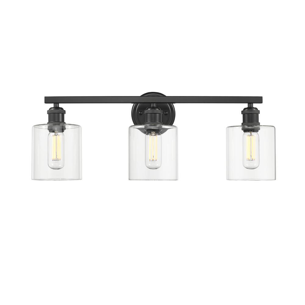 Fisher 5 in. 3-Light Black Vanity Light