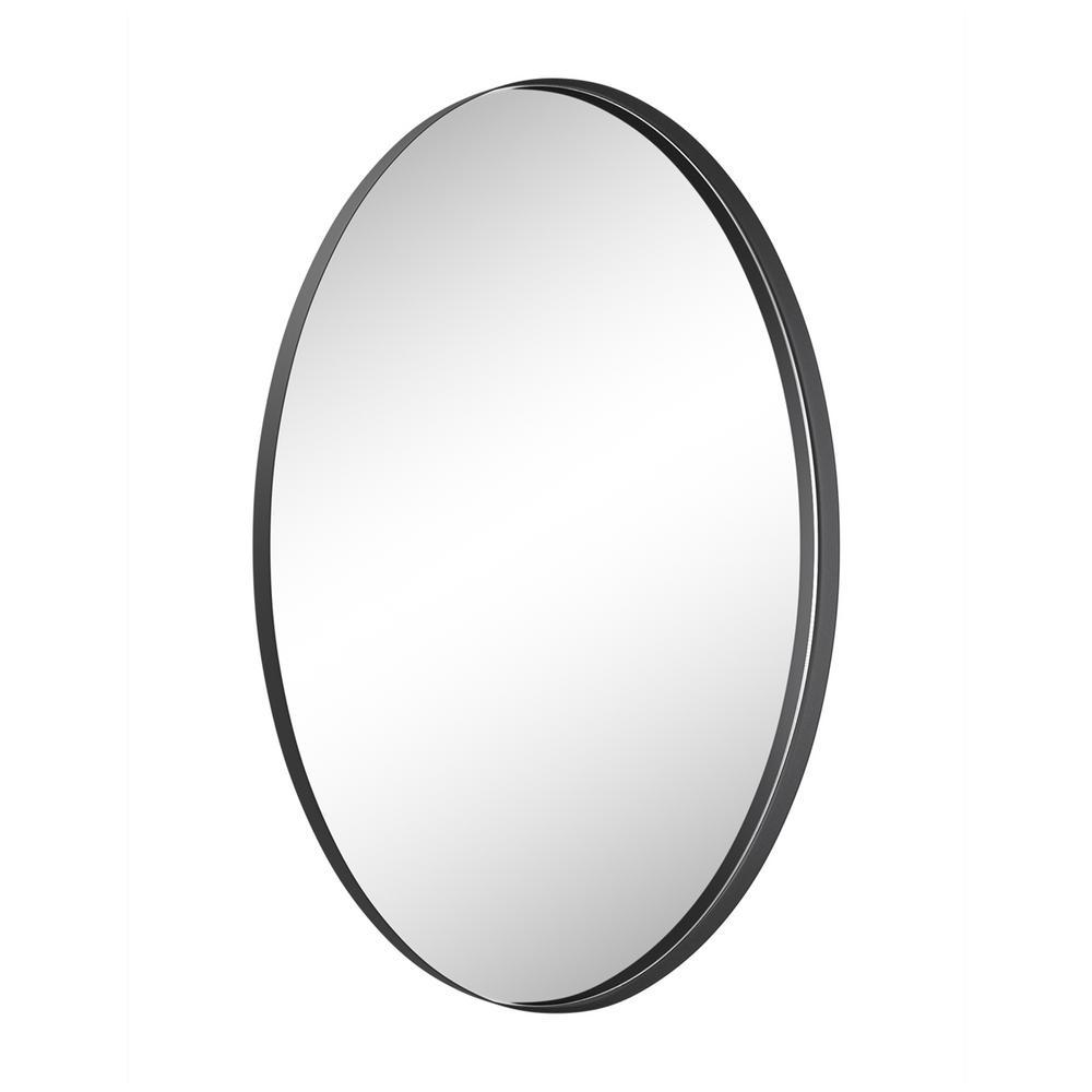 28 in. W x 18 in. H Framed Oval Bathroom Vanity Mirror