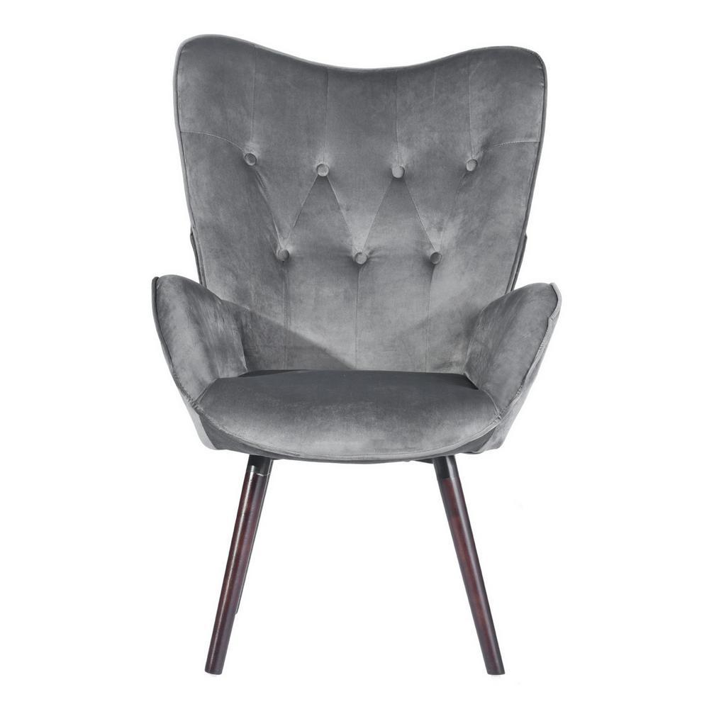 Furniturer Kas Gray Velvet Tufted Arm