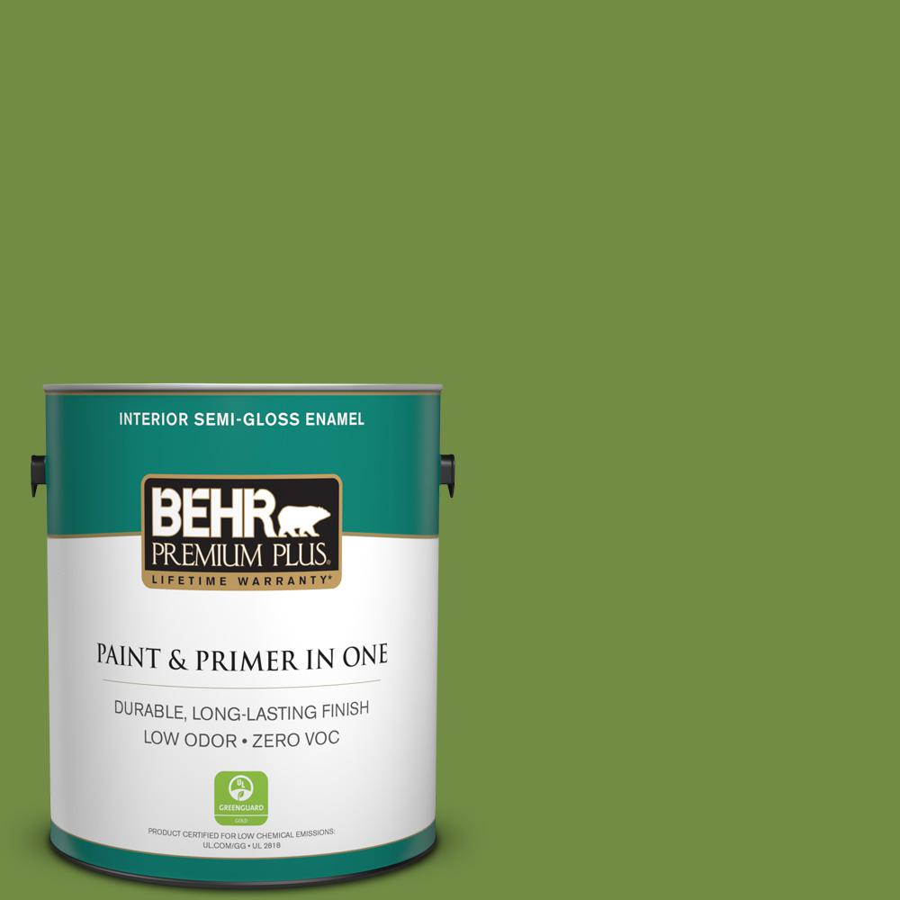 BEHR Premium Plus 1-gal. #420D-6 Thyme Green Zero VOC Semi-Gloss Enamel Interior Paint