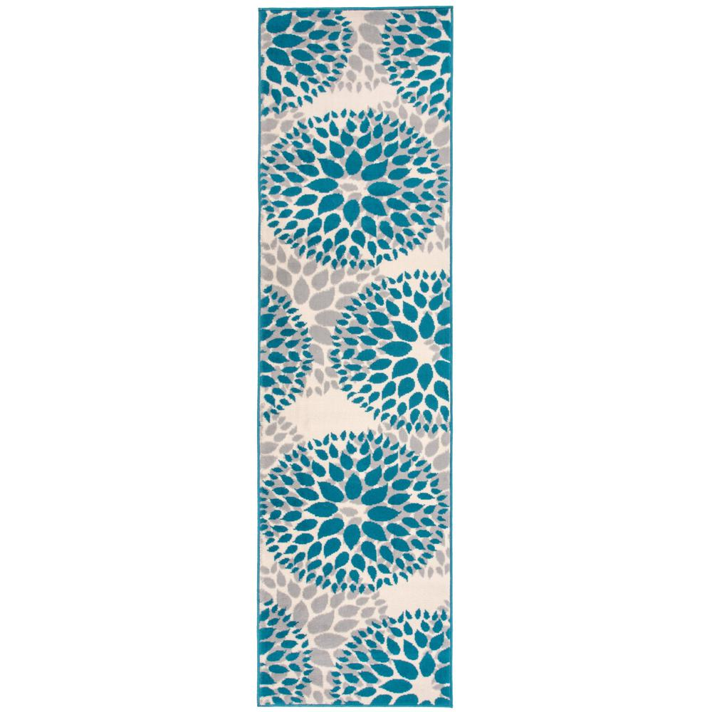 World Rug Gallery Modern Contemporary Floral Circles Blue