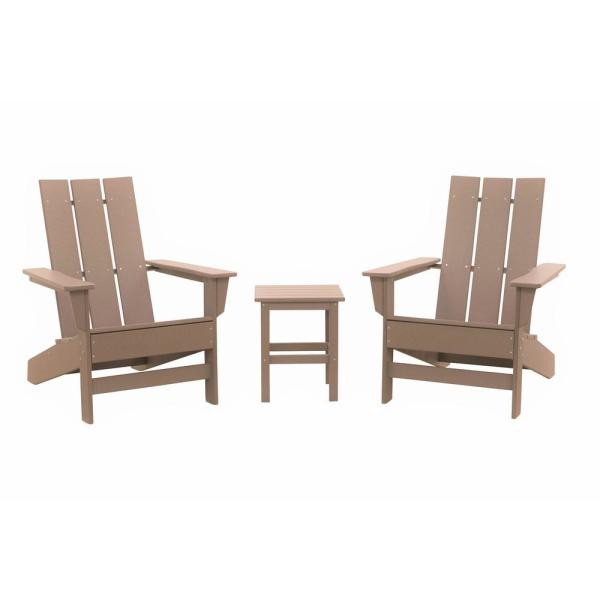 Aria Weathered Wood Recycled Plastic Modern Adirondack Chair with Side Table (2-Pack)