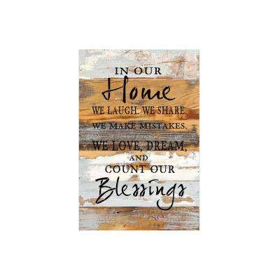 "12 in. x 18 in. ""In our home"" Printed Wooden Wall Art"