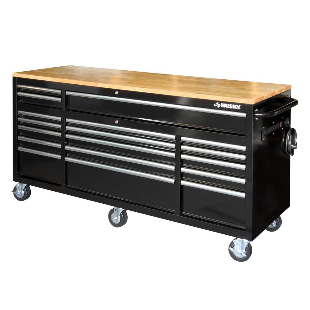 Husky 72 In 18 Drawer Mobile Workbench With Solid Wood Top Black