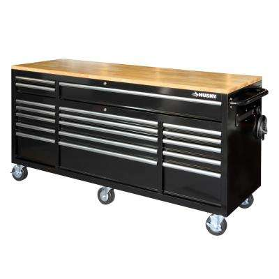 72 in. 18-Drawer Mobile Workbench with Solid Wood Top, Black
