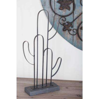 19 in. Cactus Outline Decorative Sculpture in Gold and Gray