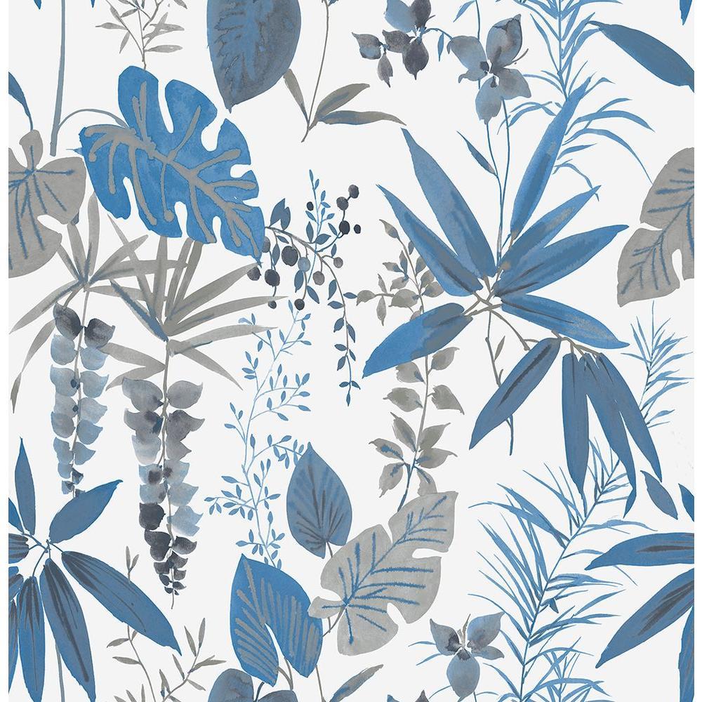 A-Street Descano Flower Blue Botanical Wallpaper Sample 2656-004016SAM