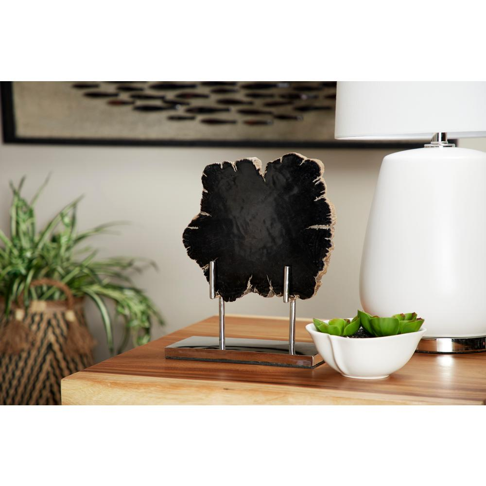 LittonLane Litton Lane Large Live Edge Black Petrified Wood Slice Sculpture on Silver Metal Stand