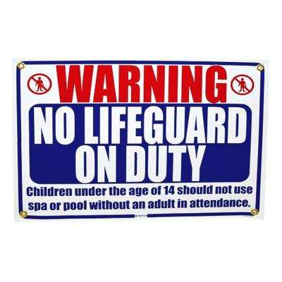 18 in. x 12 in. Rainbow No Lifeguard On Duty Sign