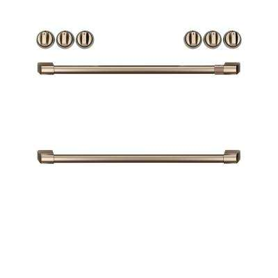 Front Control Induction Range Handle and Knob Kit in Brushed Bronze
