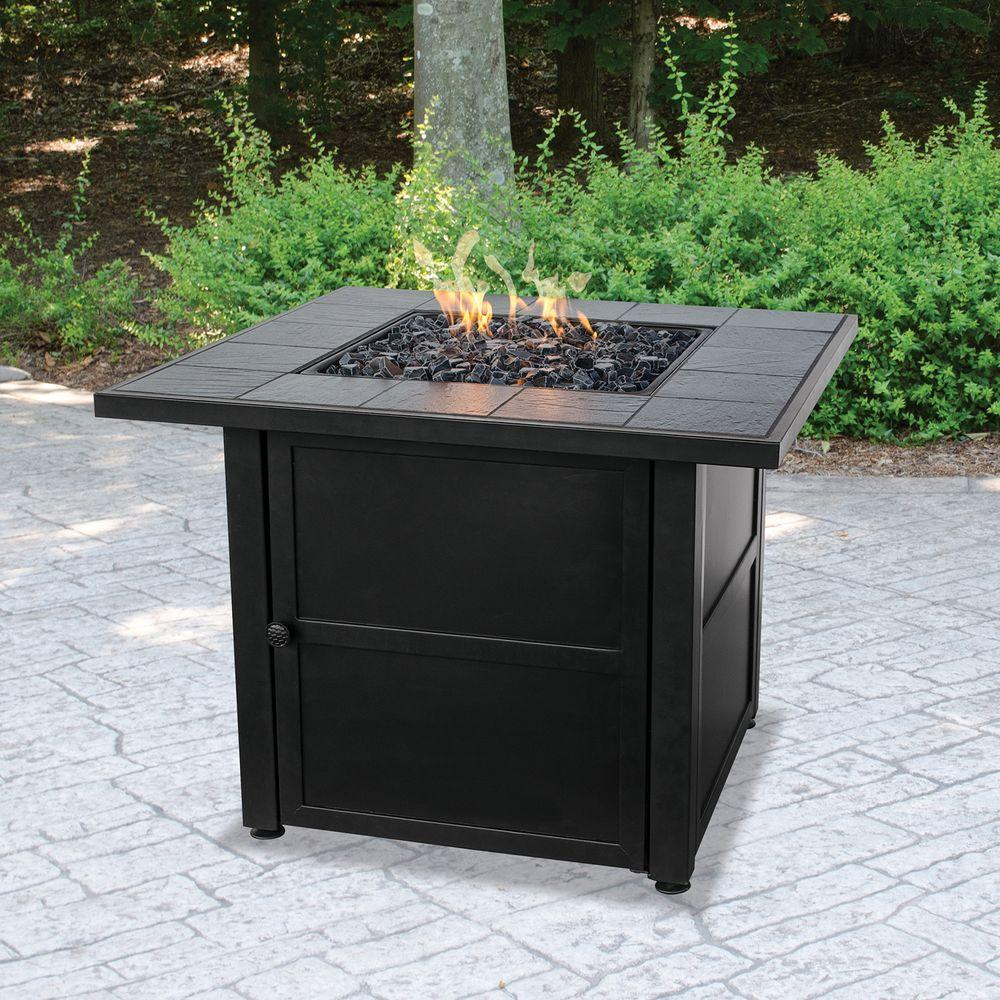 Uniflame 31 5 In W X D Black Slate Ceramic Tile Lp Gas Fire Pit With Electronic Ignition And Gl