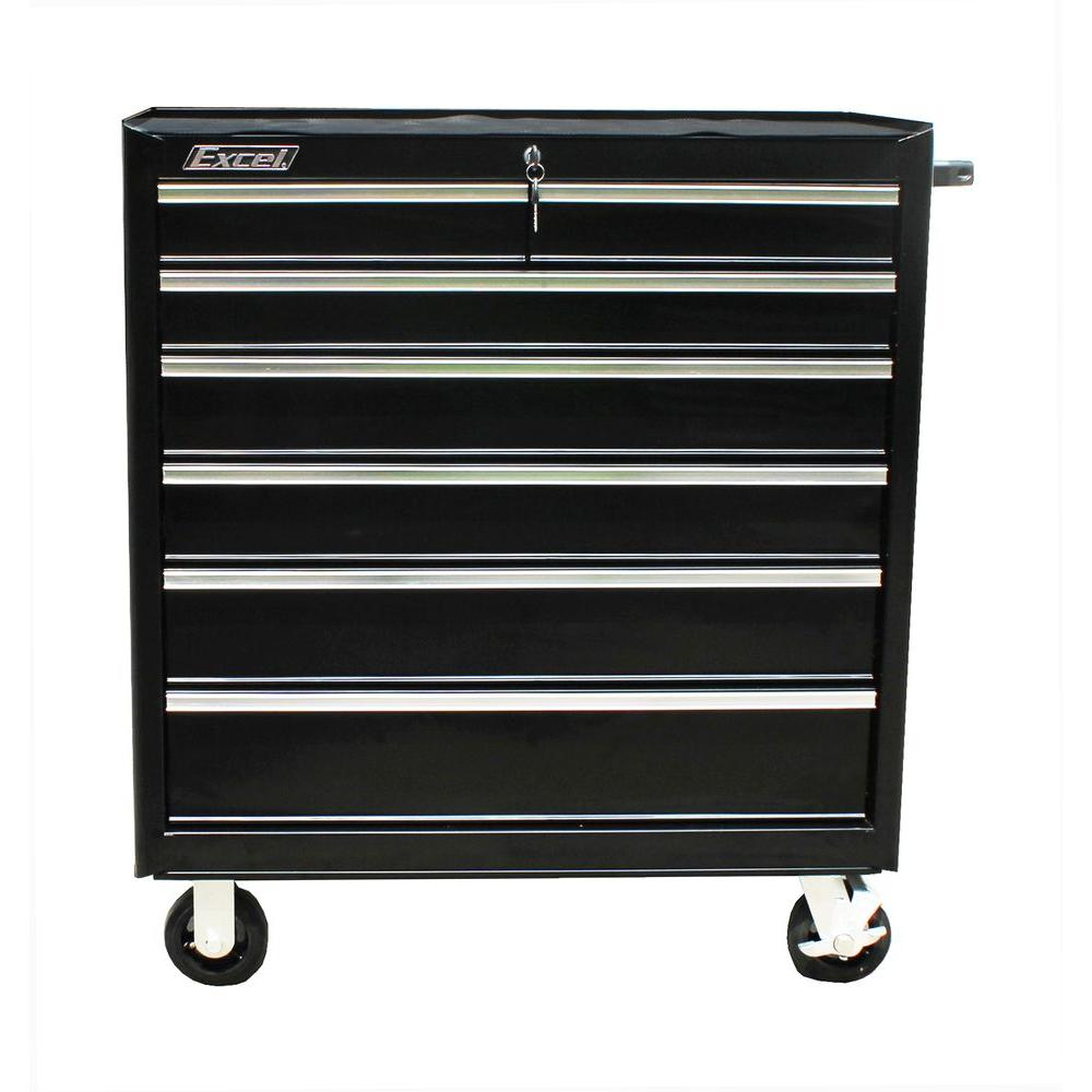 Brand-new Excel TB2608-X 36 in. 7 Drawer Roller Cabinet Tool Chest, Black  YG25