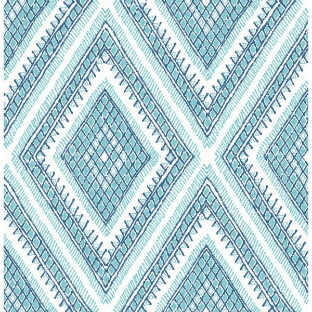 A Street Zaya Blue Tribal Diamonds Blue Wallpaper Sample 2969 26013sam The Home Depot