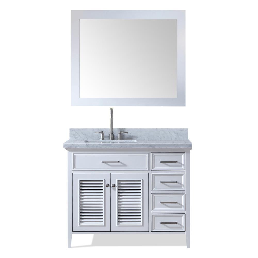 Ariel Kensington 43 in. Bath Vanity in White with Marble Vanity Top in Carrara White with White Basin and Mirror