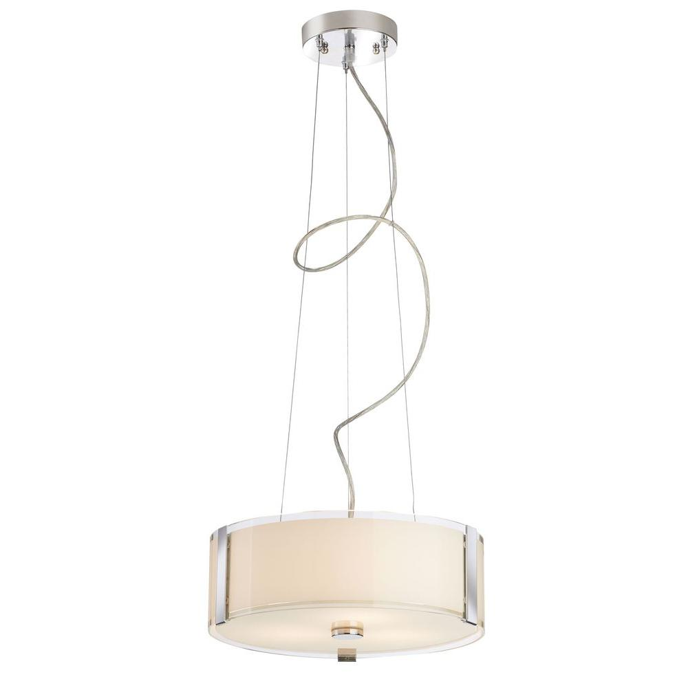 Home Decorators Collection Bourland 3-Light Polished Chrome Pendant with Polished Glass Drum Shade