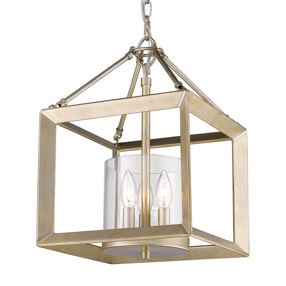 Golden Lighting Smyth 3-Light White Gold Lantern Mini Pendant with Glass Shade