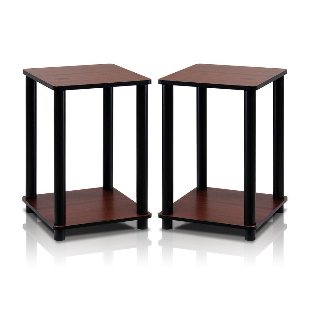 Furinno Turn N Dark Cherry Simple End Table 2 Set