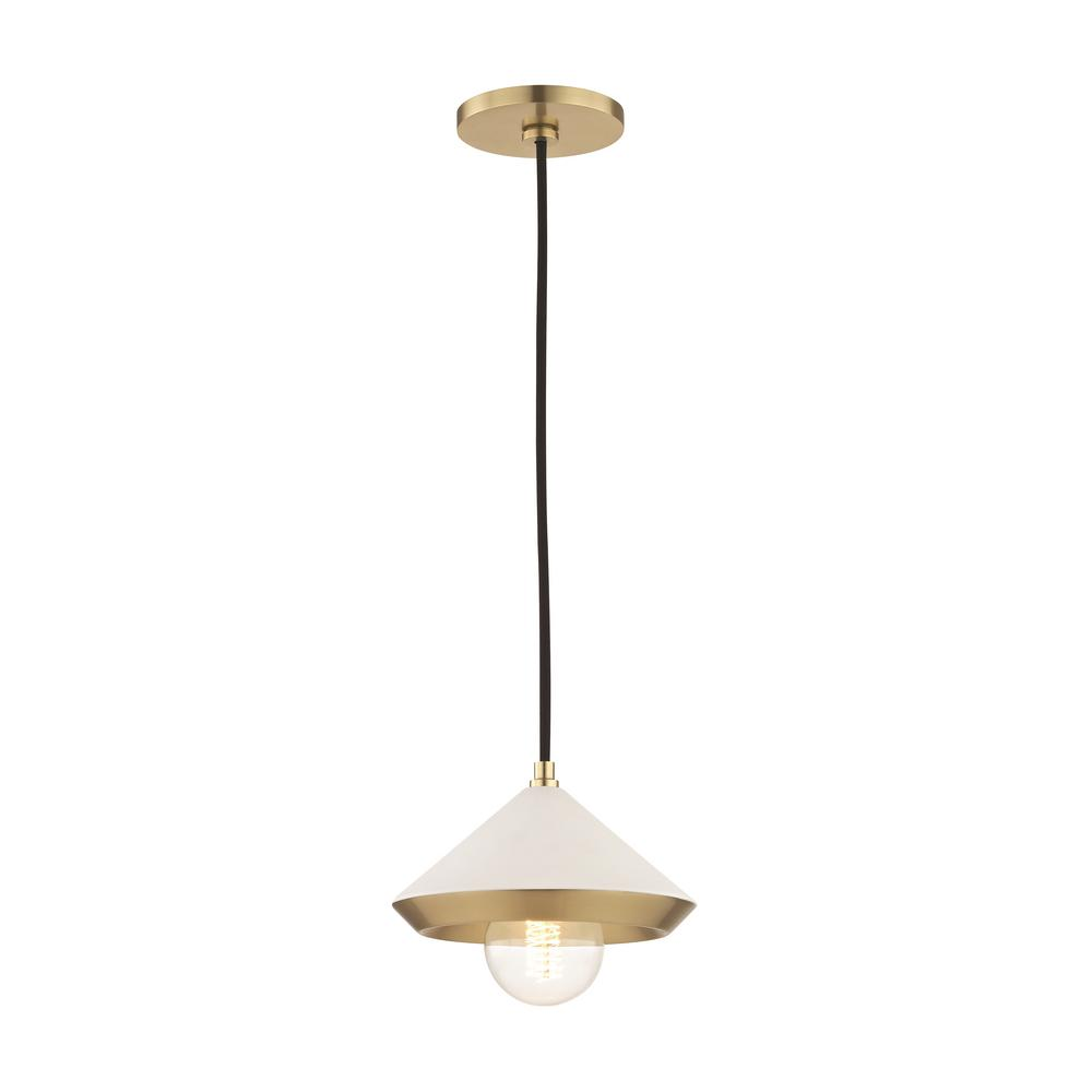 Mitzi By Hudson Valley Lighting Marnie 1 Light Aged Br Small Pendant With White Shade