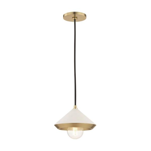 Marnie 1-Light Aged Brass Small Pendant with White Shade
