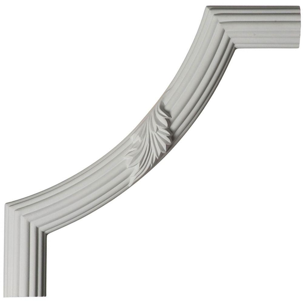 Ekena Millwork 12 in. x 1-1/8 in. x 12 in. Urethane Reeded Acanthus Leaf Panel Moulding Corner (Matches Moulding PML01X01AC)