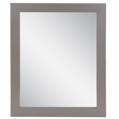 31 in. W x 26 in. H Wood Framed Wall Mirror in Taupe Gray