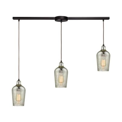 Hammered Glass 3-Light Linear Bar in Oil Rubbed Bronze with Hammered Mercury Glass Pendant