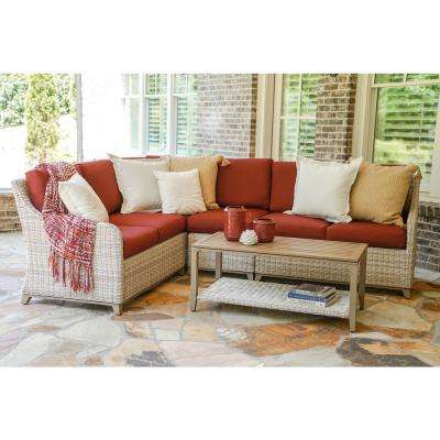 Hampton 5-Piece Wicker Outdoor Sectional with Red Cushions